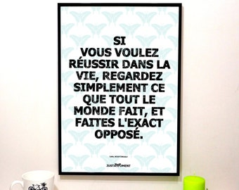 """French Touch Art, inspiring and motivational quote """"If you want to succeed..."""" - bottom blue"""