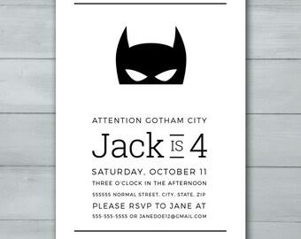 Batman Birthday Invitation  |  Batman Invite  |  Superhero Invitation  |  Superhero Invite