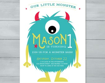 Monster Birthday Party Invitation  |  Hairy Creature Monster Birthday Invite  |  Monster Invitation