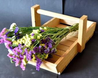 Vintage Oak Trug Basket ~ Garden Vegetable ~ Flower Carrier/Basket Lovely Condition