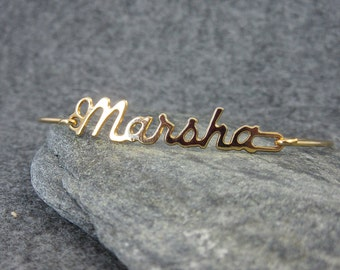 Vintage, Personalized,  gold tone bracelet, Marsha, gold, bangle, simple, dainty, elegant