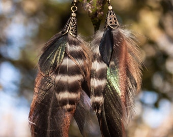 Natural Rooster Feather earrings
