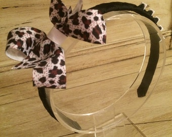 Black & Animal Print Boutique Bow Woven Headband - Personalised