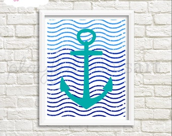 Anchor & Waves Print, 8x10, Instant Download