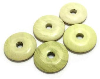 Light Green Donut Beads / Stone Beads / Donut Bead Mix