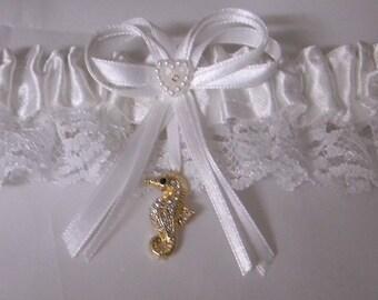 Wedding Reception Ceremony Party  Gold Rhinestone Seahorse Beach Ocean  Bridal Garter White