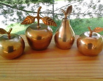 Three Brass Apple Bells and One Brass Pear Bell