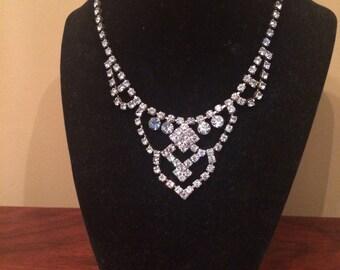 Lovely sky blue vintage rhinestone necklace