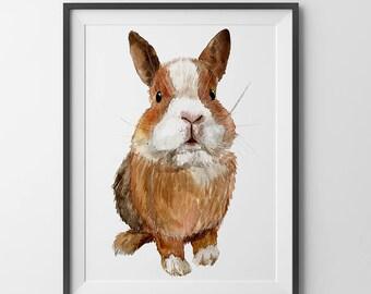 Nursery decor - Watercolor rabbit print. Nursery wall art