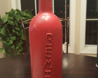 Valentine wine bottle vase