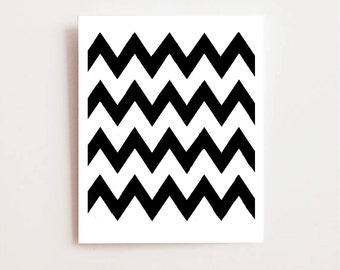 Chevron pattern- Fine art Giclee print of original ink drawing, Wall art, abstract art, modern art, black and white, pattern