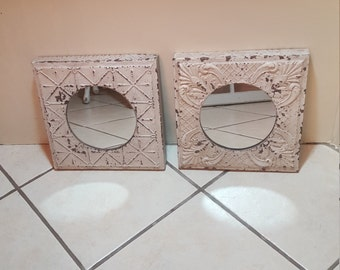 set of 2 mirrors with white decorative tin