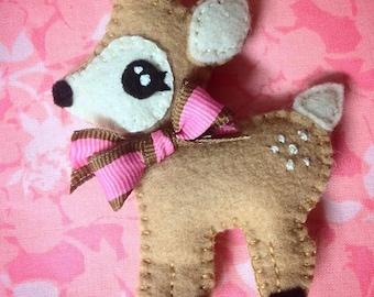 Sweet Woodland Deer Fawn Embroidered Felt Ornament