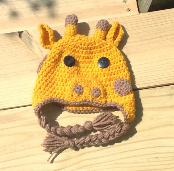 Crochet Giraffe Hat Pattern For Dogs : Giraffe Crochet Hat-FREE SHIPPINGNewborn to Adult Sizes