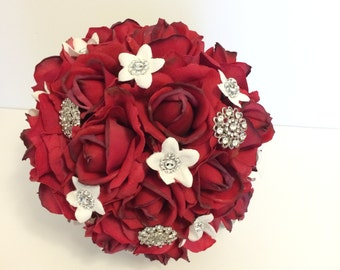 Red Rose Bouqet, Brooch Bouquet, Red Rose Brooch Bouquet