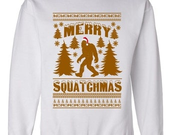 Merry Squatchmas Ugly Christmas Sweater Bigfoot