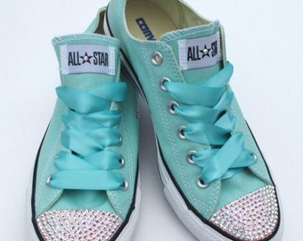Converse Classic Low Top Swarovski Bling Chucks - Turquoise