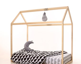 Toddler bed house frame, house bed, bed, wooden house, wood house, wood nursery, teepee bed, wood house bed, wood bed frame, kids bedroom