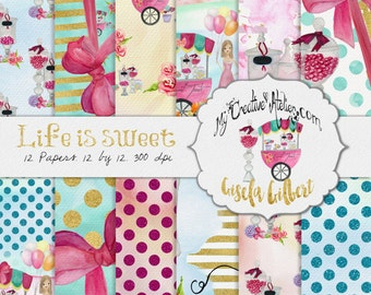Watercolor digital Paper Pack. Life is sweet. Candy Store