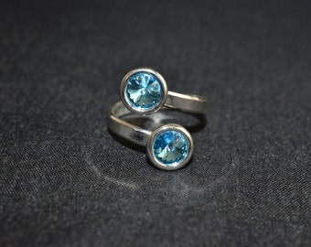 Ring 925 Double cabochon aquamarine Swarovski 6mm