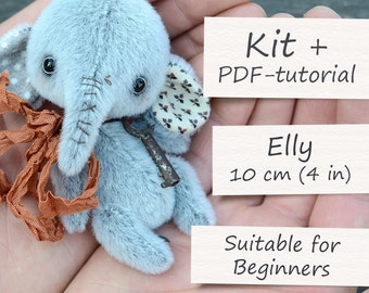 """Teddy Toy Sewing Kit: Miniature Elephant (4""""/10cm). All Supplies and Artist Teddy Elly ePattern included"""