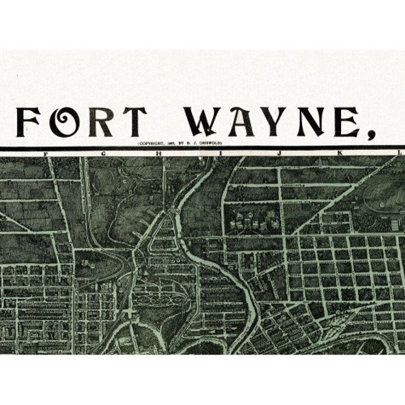 Historic map of fort wayne indiana 1907 allen county vintage for Tattoo shops in fort wayne