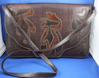 Varon Vintage Large Brown Leather Textured Clutch with Strap JEA