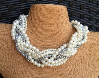 Chunky pearl necklace, braided pearl necklace, gray pearl bridesmaids necklace, pearl necklace, ivory and silver pearl, statement necklace