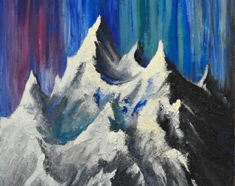 in the lights, one of a kind, abstract, original, oil, painting, acrylic, mixed, mountain, landscape, handmade, canvas,traditional