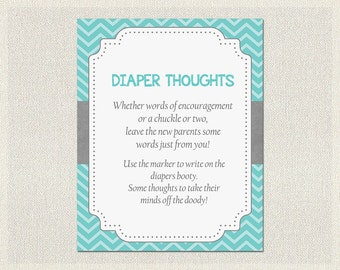 Diaper Thoughts Boy Blue Turquoise | Advice for Parents to be | Gray Chevron Baby Shower Games Boys Neutral Baby Shower BS-12