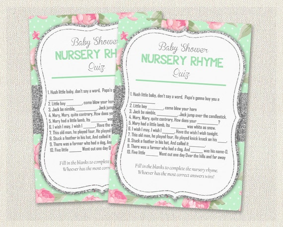shabby chic baby shower nursery rhyme quiz floral glitter silver