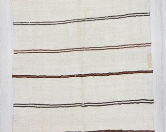 5'x10' (148x300cm) Vintage handwoven modern striped Turkish hemp kilim rug, FREE SHİPPİNG