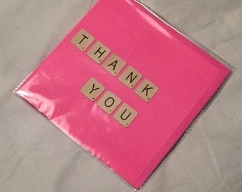 Thank you handmade scrabble card
