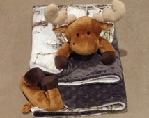 Moose minky blanket baby animal blanket cuddle blanket 24x24 tree camo white brown dark gray dimple dot