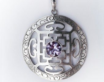 Mandala pendant 925 Silver and Amethyst