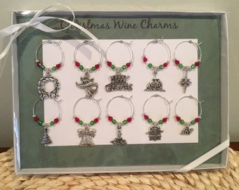 Christmas Wine Charm Set of 10