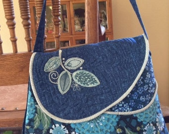 Quilted Blue Floral Shoulder Bag, Blue Cotton Purse, Hand Made Embroidered Purse