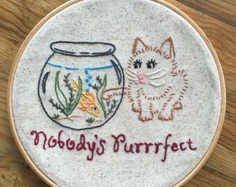 Naughty Cat Embroidery Hoop