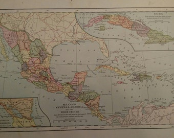 Antique 1898 Map of Mexico, Central America and the West Indies by Bradley & Foates