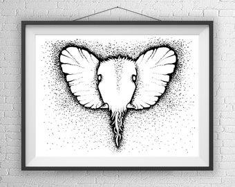 Elephant Head Art Print Illustration, Pen and Ink, Fantasy Art