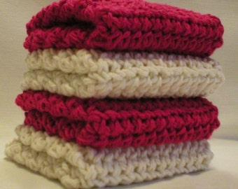 "Handmade Crochet Dishcloths Washcloths 4-Pk, 2 Cranberry 2 Cream, 8"" (#5811)"