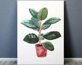 Botanical poster Potted plant print Watercolor print Flower decor ACW648