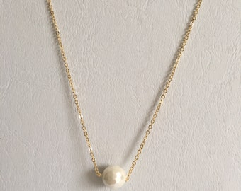 Delicate Gold Chain Necklace with Mother of Pearl Pendant