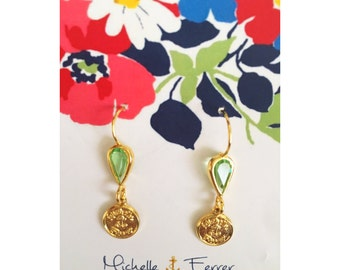 Green Tear Drop Gold Earrings