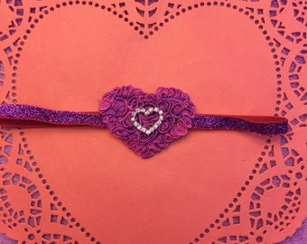 Valentine's purple heart headband - 16 inch headband- Valentine's Day- toddler headband- baby headband - holiday headband