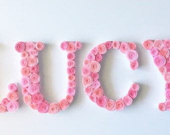 Custom Floral Baby Name for Nursery- Baby Girl Name Wall Decor, Personalize Colors