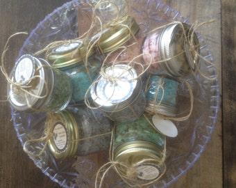 Bath Salts, 4 ounce Aromatherapy Bath Salts, Bottled Bath Botanical Salts, Aromatic Botanical Bath Salts