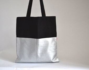 Shopper Black/Silver, Cotton bag black, artificial leather silver