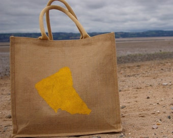 Wirral, Merseyside Large Jute  Shopping Bag. Hessian Burlap