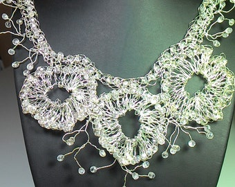 Crystal beaded statement necklace.